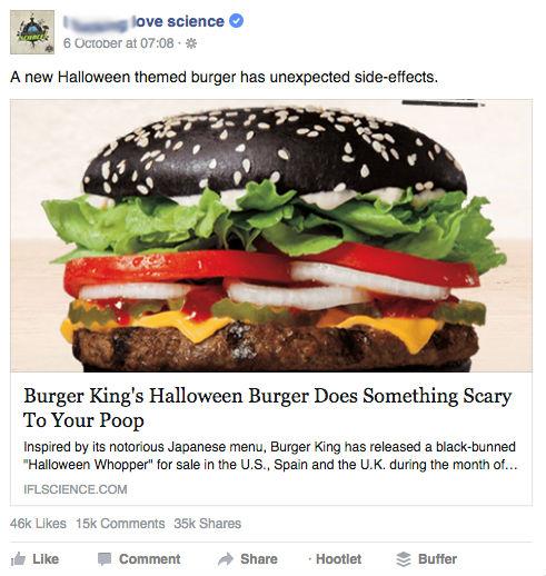 Best Halloween Posts for Facebook: Burger King black bun sandwich