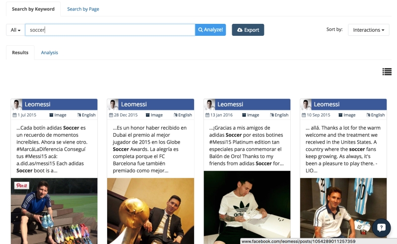 Leo Messi top Soccer posts on Facebook