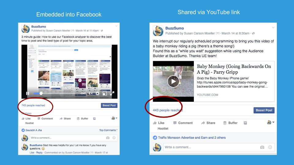 Facebook Questions and Answers: Youtube video versus embedded
