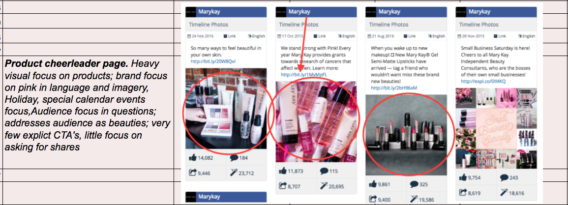 Mary Kay Facebook Analysis Summary