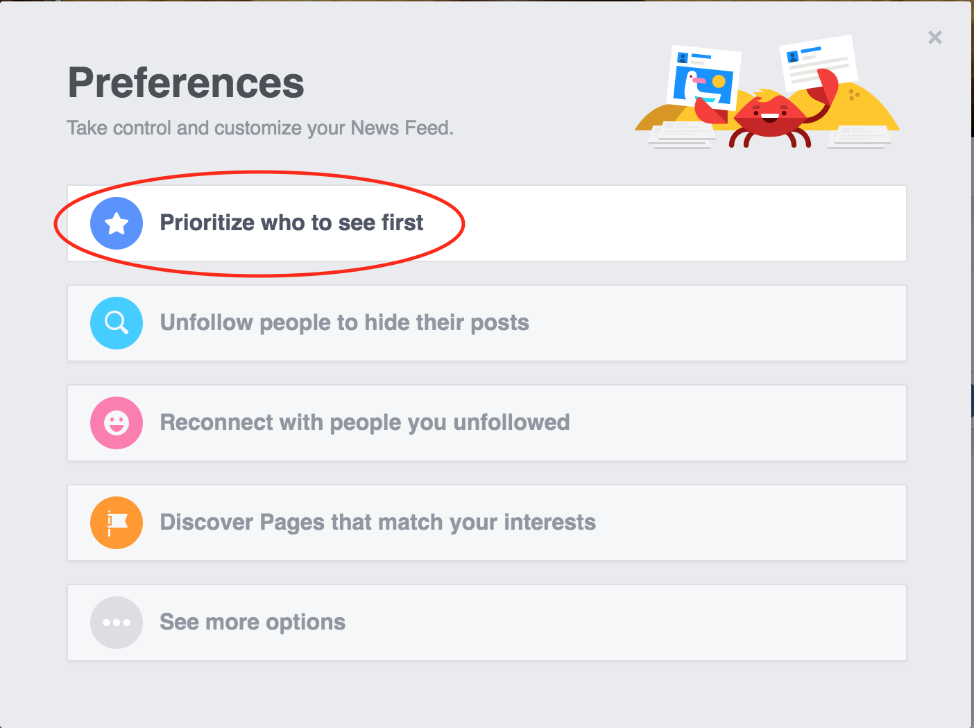 Prioritize who to see first in your Facebook feed