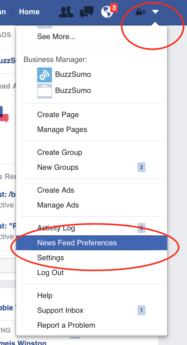 Drop down for Facebook newsfeed preferences
