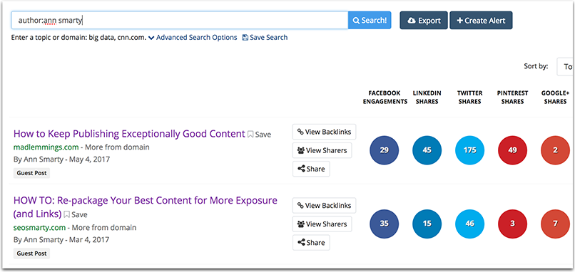Influencer outreach with BuzzSumo author search