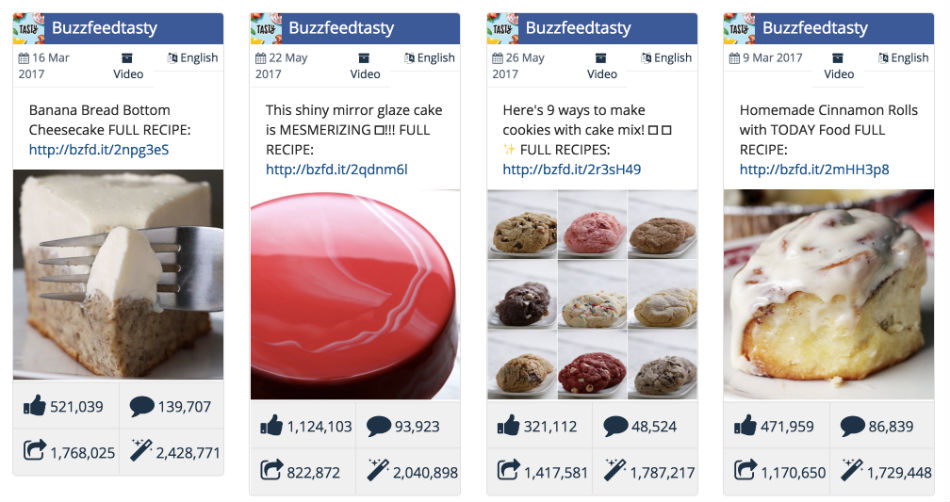 Food is a popular video format on Facebook