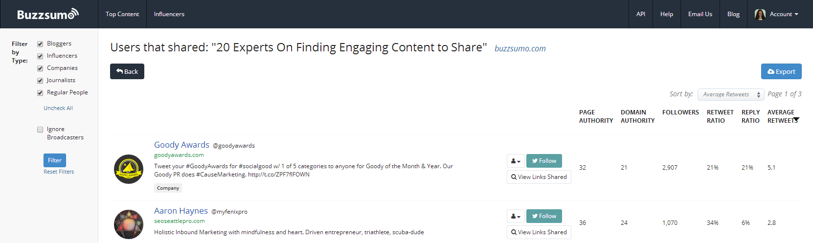 buzzsumo top content search