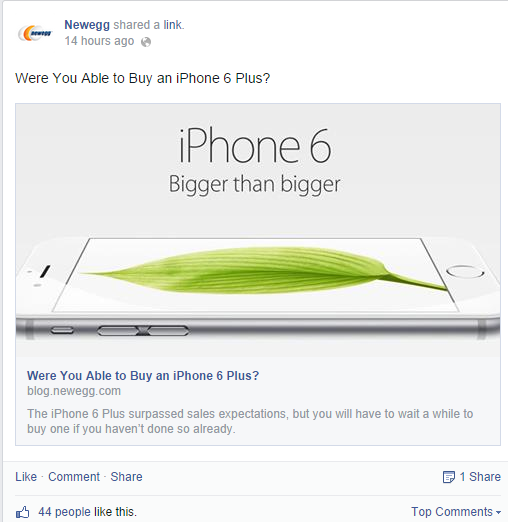 newegg facebook headline