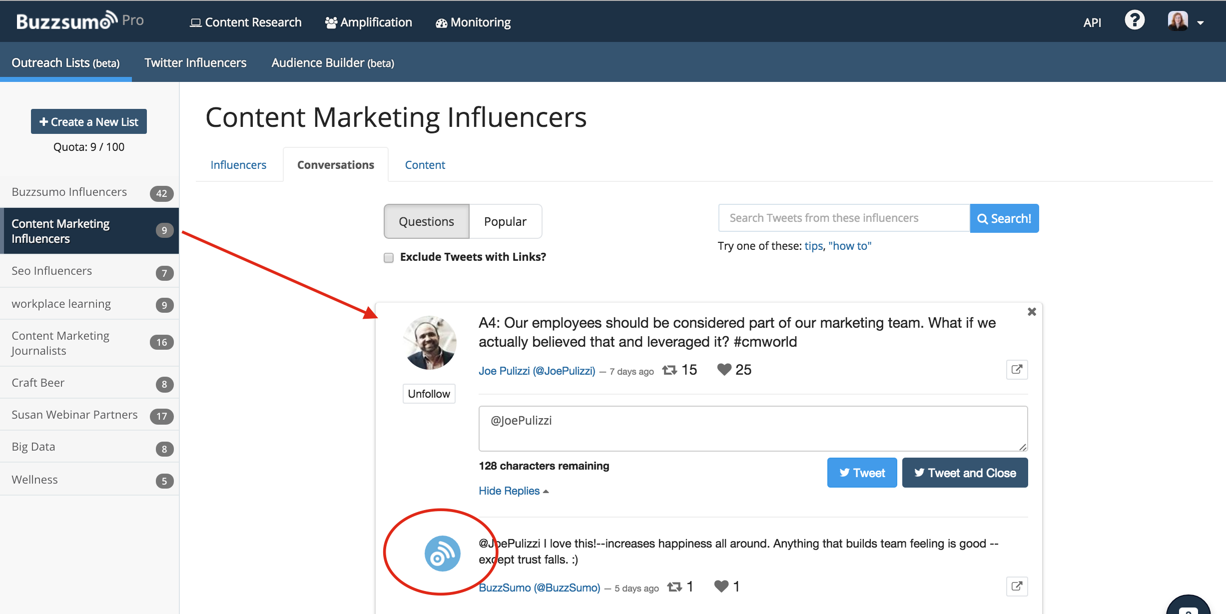 Influencer Outreach conversations tab with answered question
