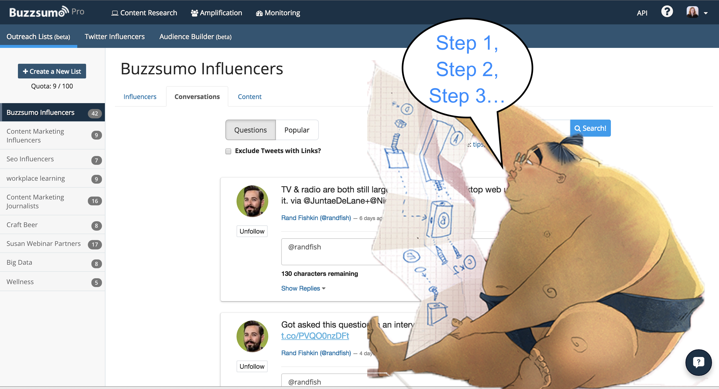 Influencer outreach with BuzzSumo icon step by step