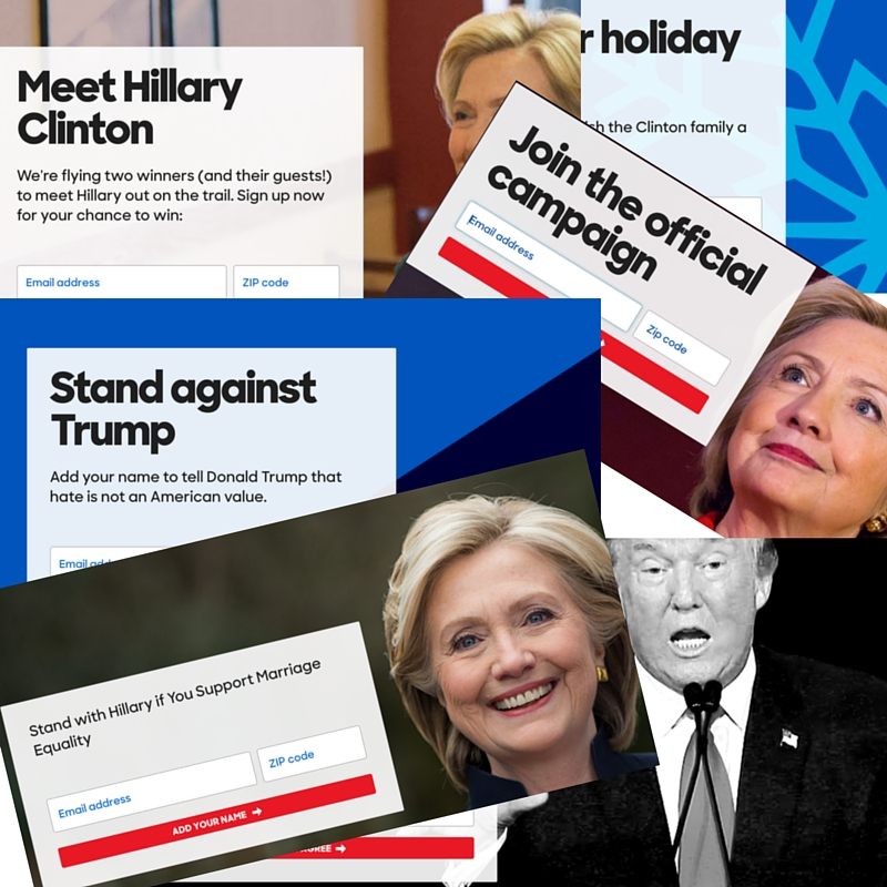 Clinton landing pages