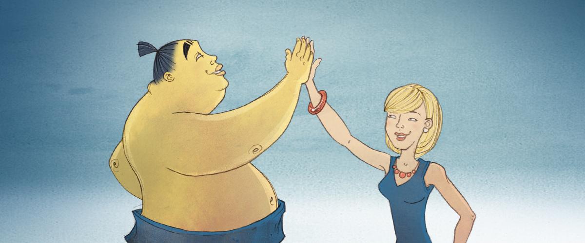 Mari and Sumo High Five