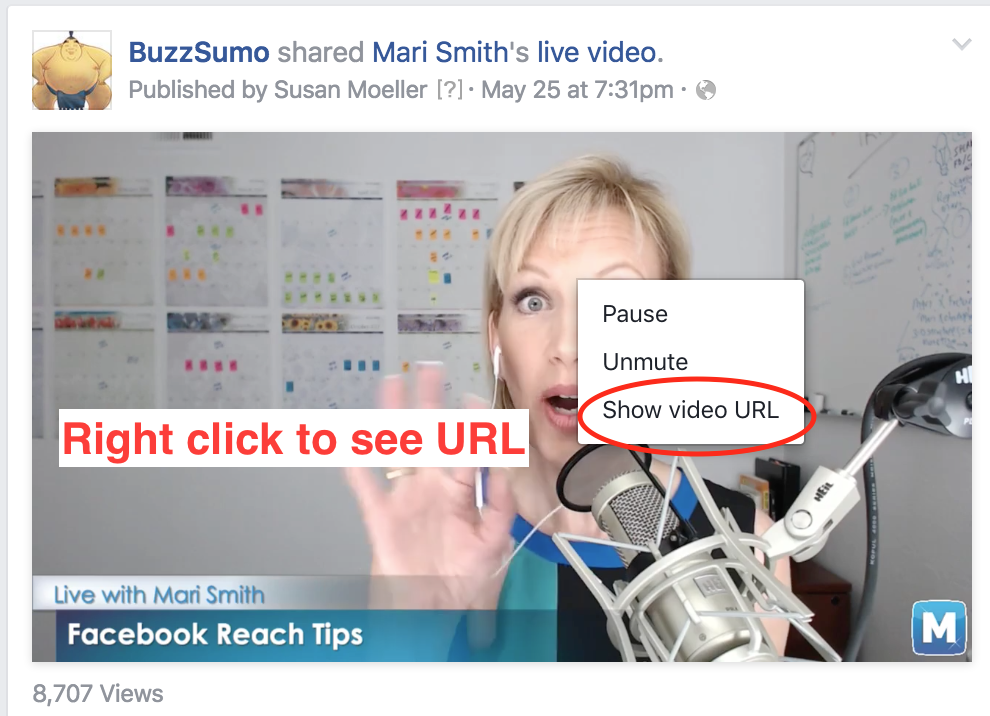 Right Click to see URL of Facebook video