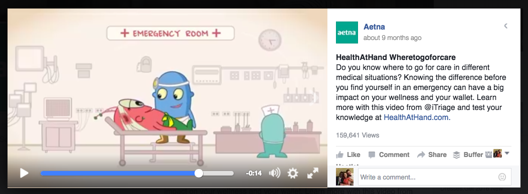 Aetna Facebook Video Example
