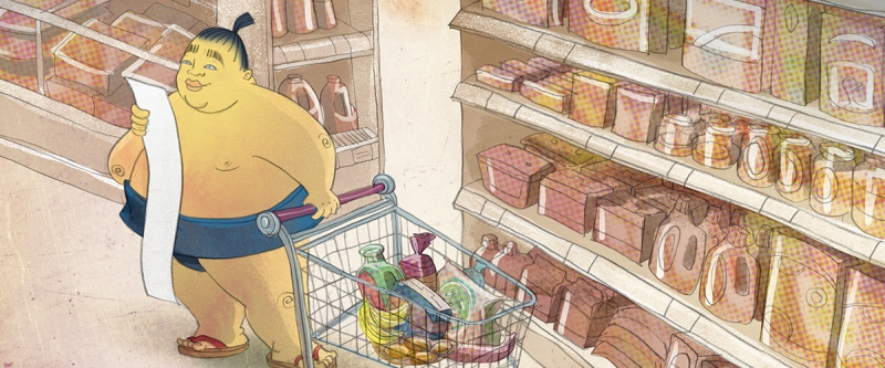BuzzSumo with grocery cart illustrating content curation by placing items in a cart