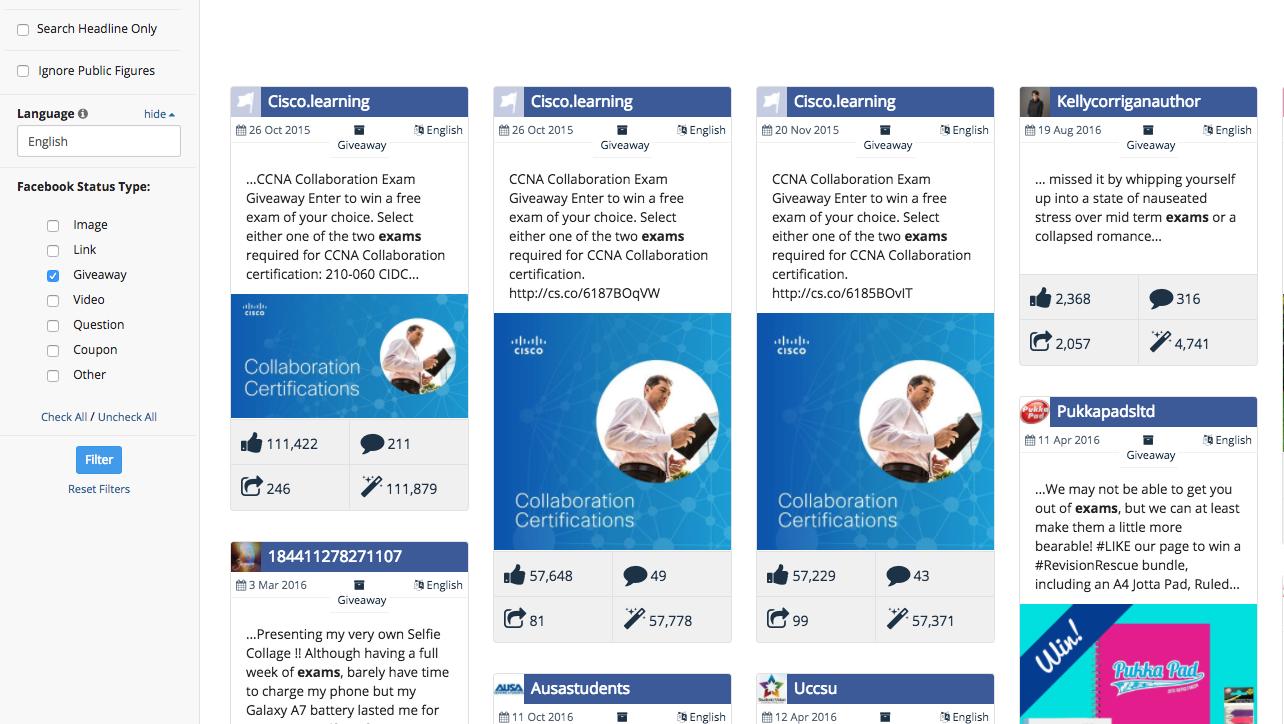Facebook Analysis of Giveaway Exam posts
