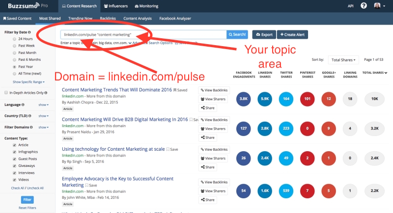 Using BuzzSumo for LinkedIn Influencers