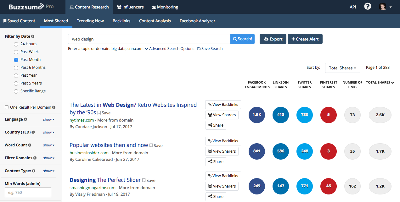 BuzzSumo 99designs Example Search