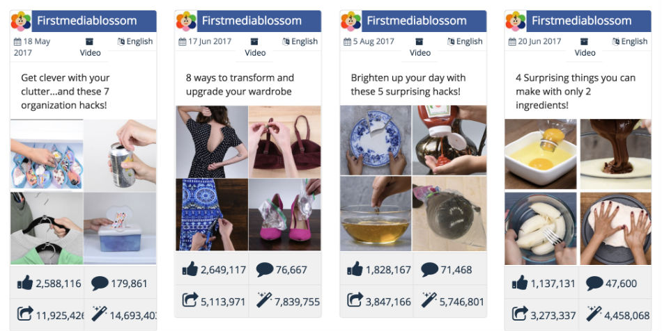 DIY videos perform well on Facebook
