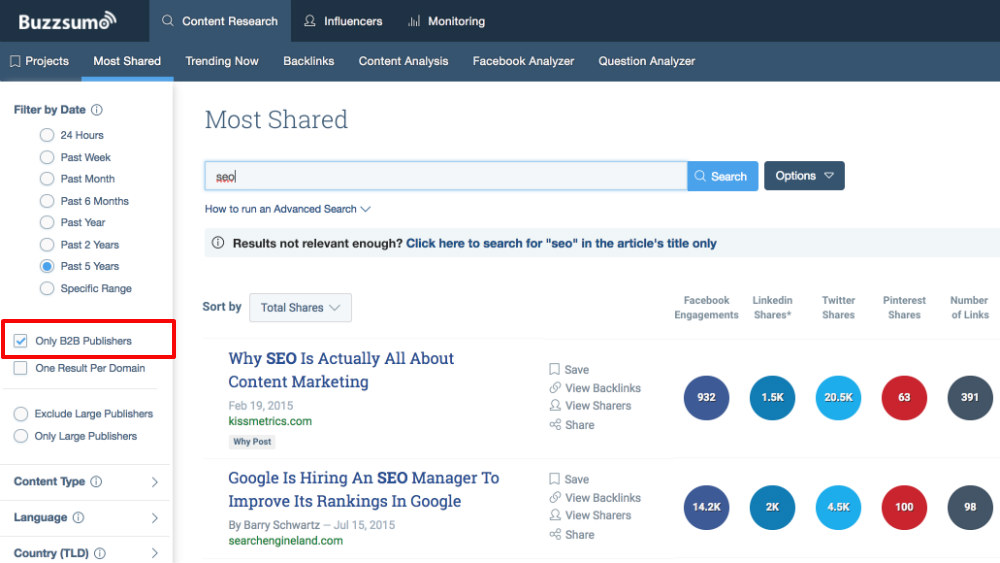 How To Find The Best B2B Content With BuzzSumo's Business Filter