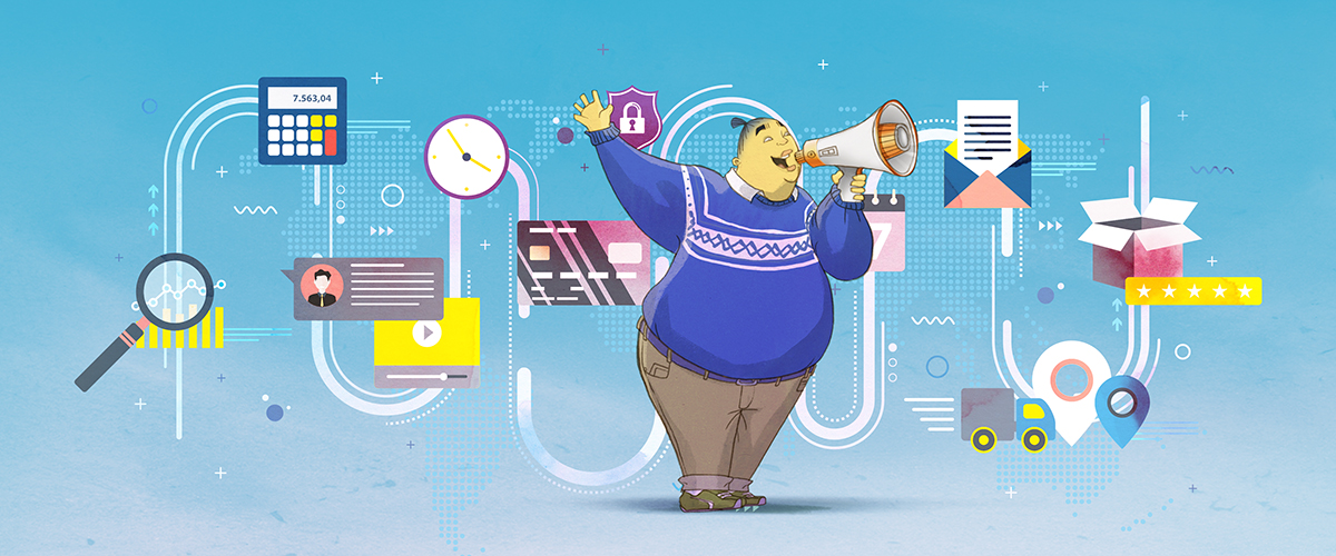 BuzzSumo character holding a megaphone