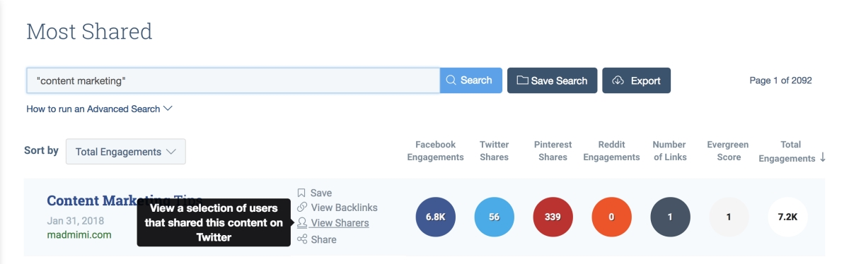 View shares in BuzzSumo for outreach strategy