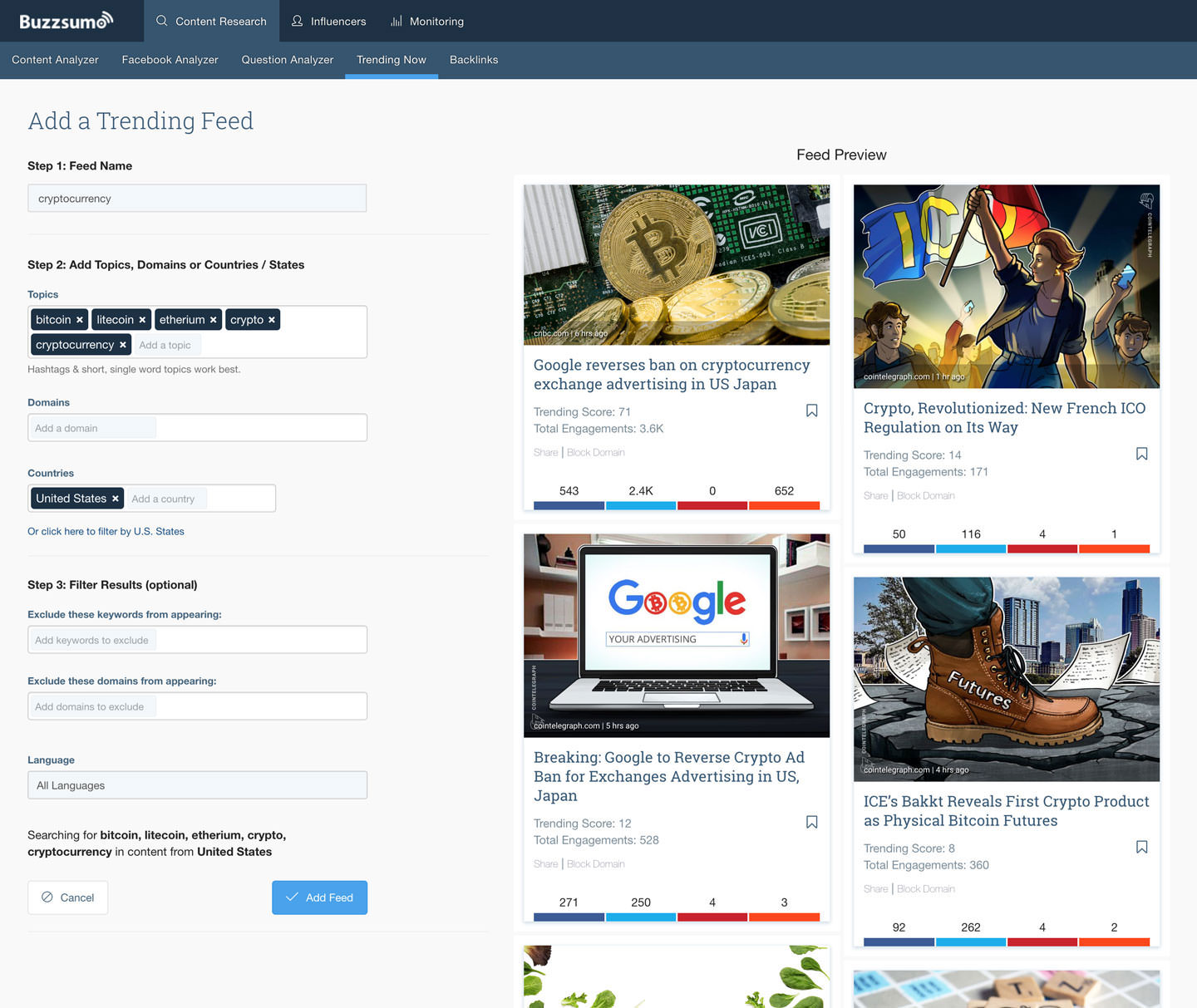add a trending content feed in buzzsumo for content curation of a specific topic