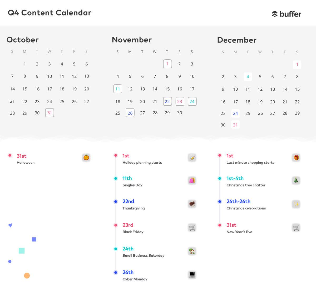 buffer q4 content calendar screenshot
