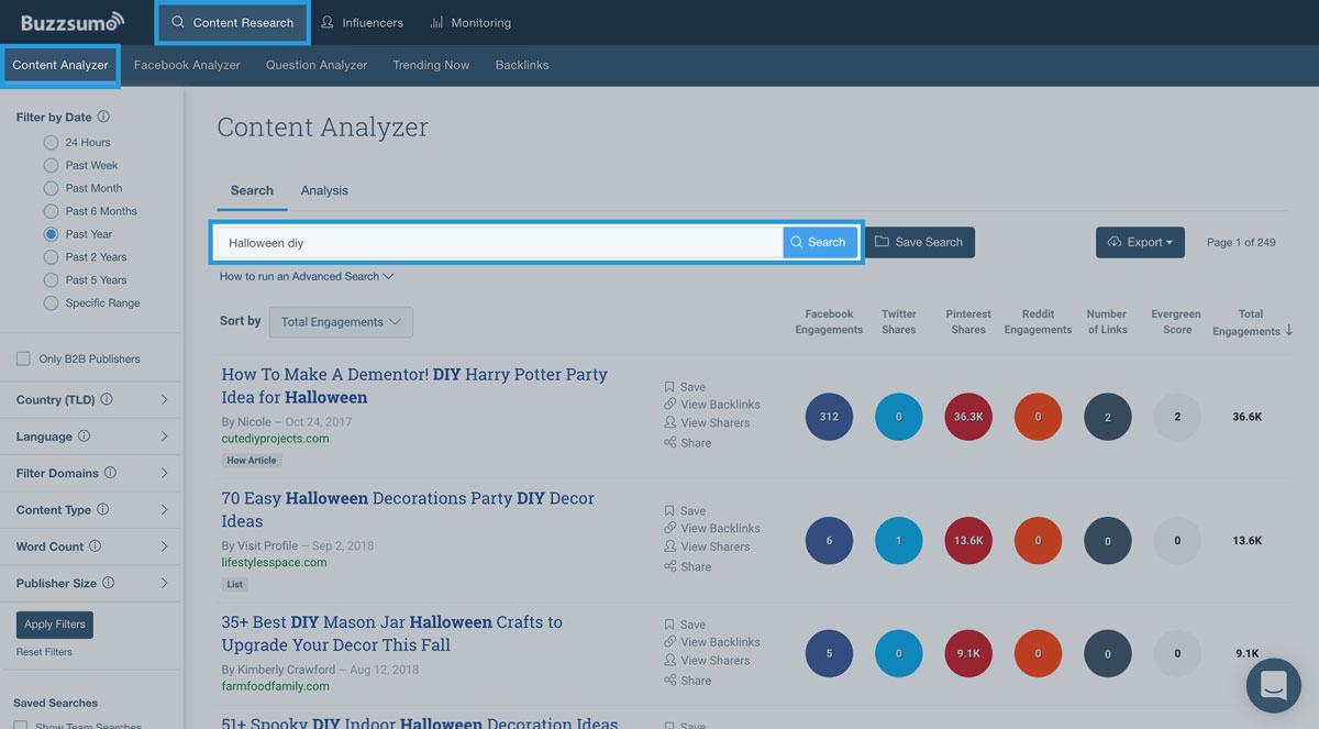 screenshot of BuzzSumo content analyzer