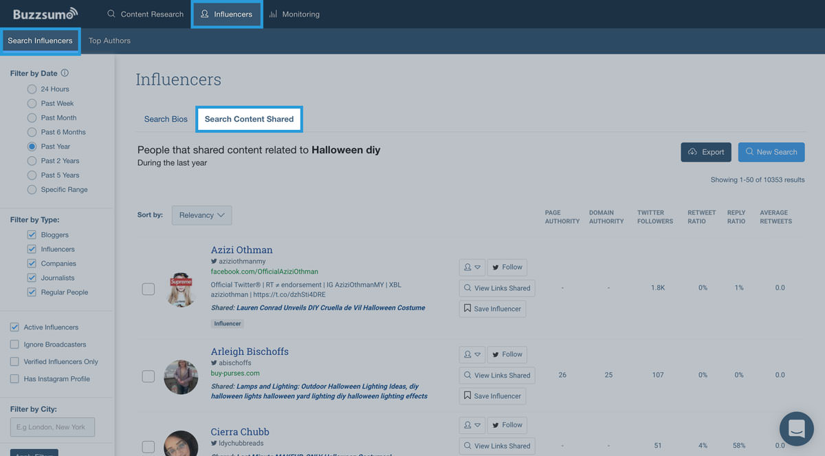 screenshot of BuzzSumo's Influencers tab for searching shared content