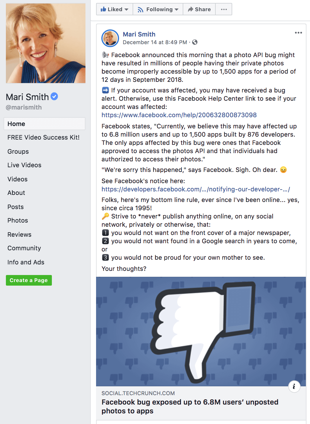 Example of helpful Facebook Engagement post for audience development from Mari Smith