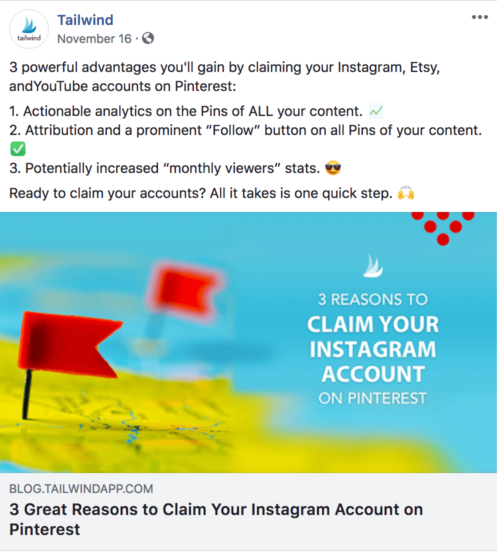 Example of implied Call to Action for Facebook Engagement TailwindApp