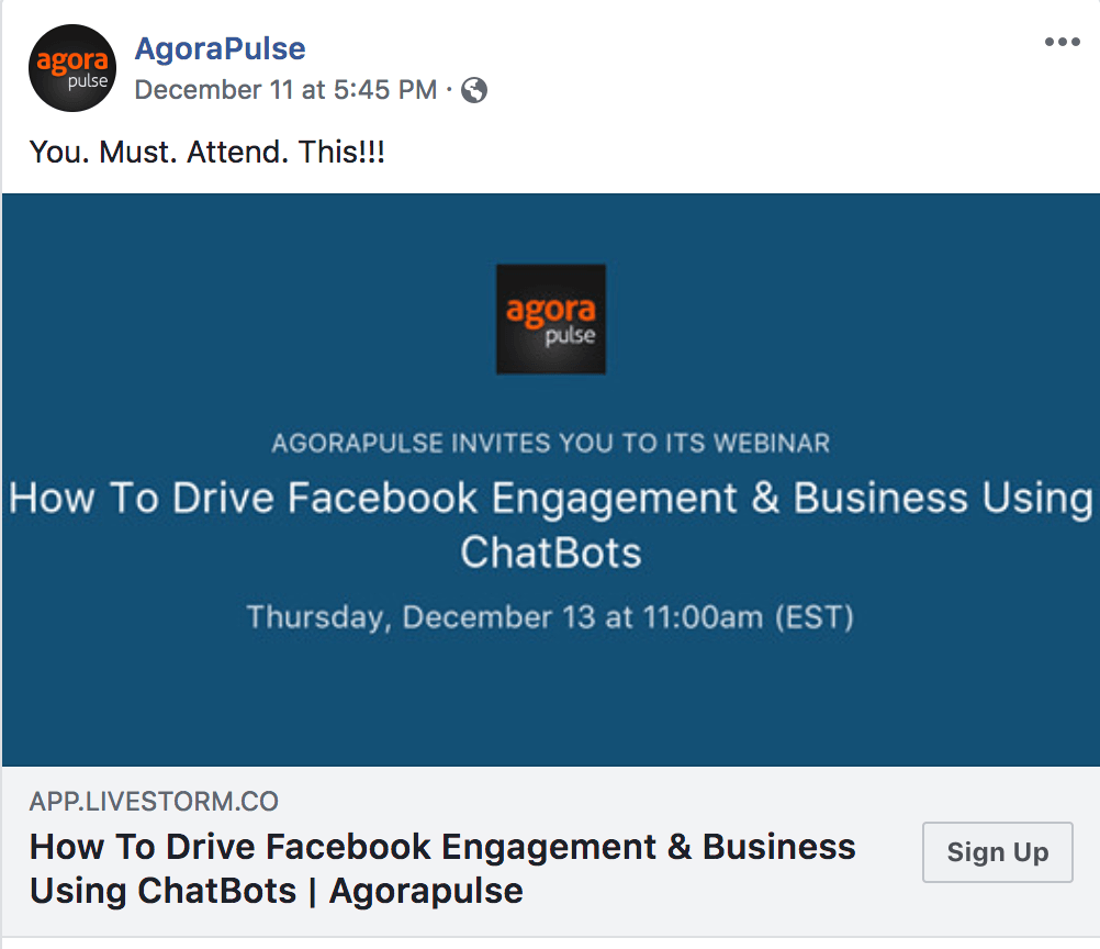 Example of Facebook Engagement Call to Action Agora Pulse