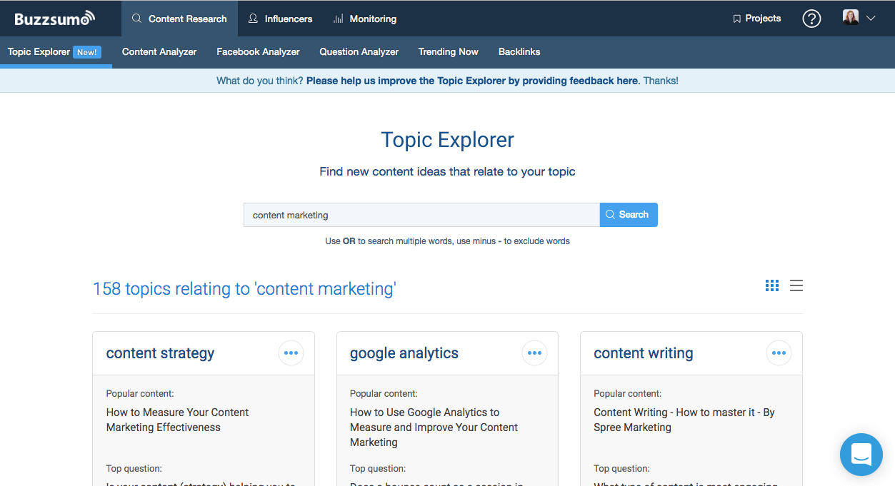 BuzzSumo Topic Explorer example Blog post ideas