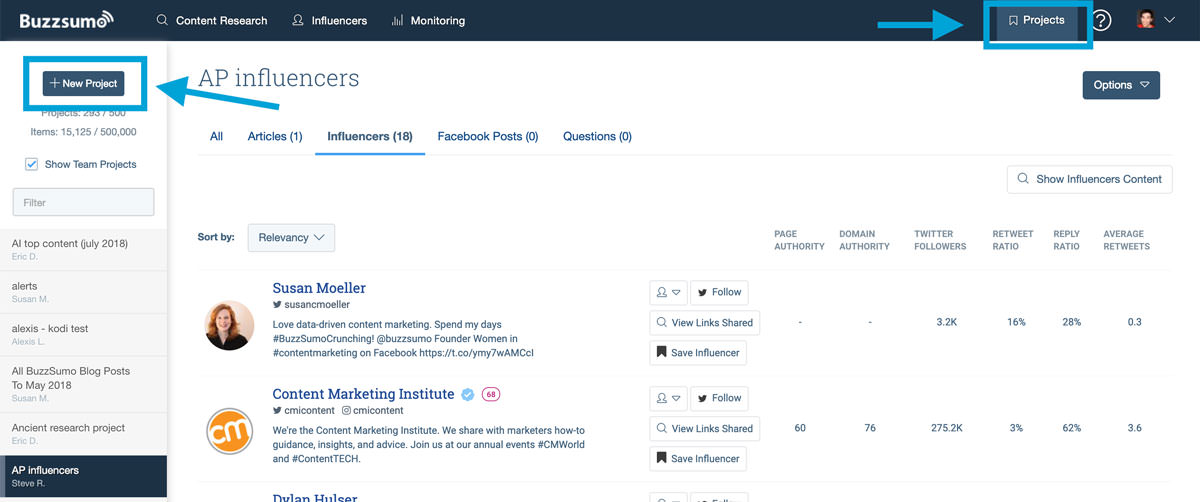 new influencer project in buzzsumo