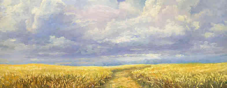 A painting of a corn field with a cloudy sky