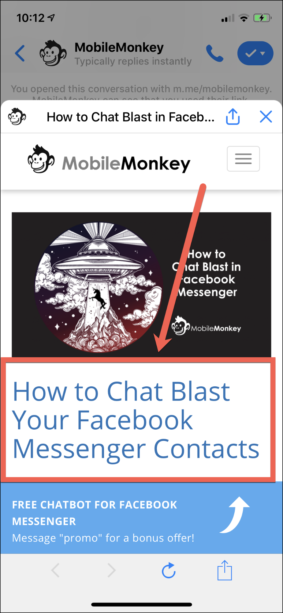 A chat blast CTA button automatically redirects the user to your onsite content.