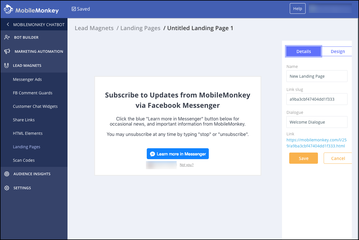 Businesses can create their Facebook Messenger landing pages through MobileMonkey's software.