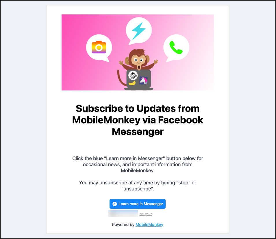 MobileMonkey's Facebook Messenger landing page showing a picture of a monkey on his laptop to entice the audience to subscribe via FB Messenger