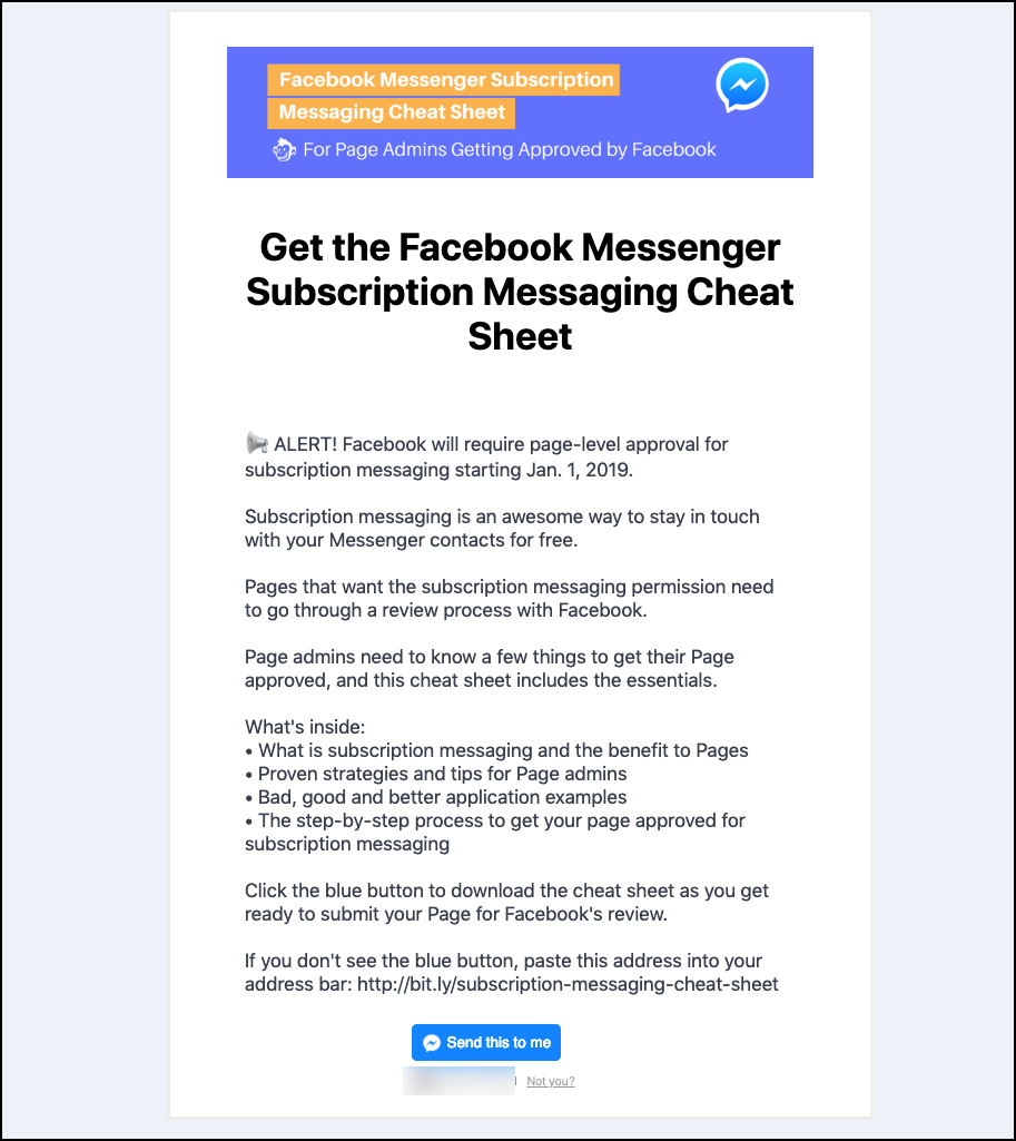 MobileMonkey's Facebook Messenger landing page offering a subscription marketing cheat sheet