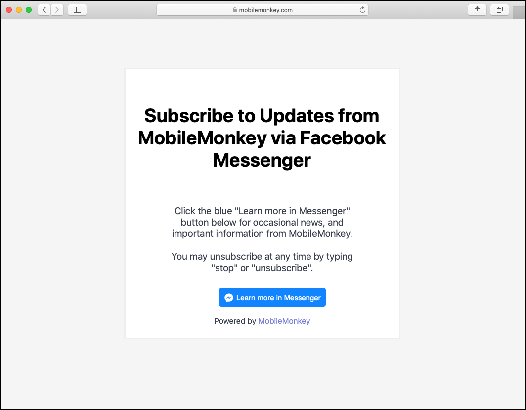MobileMonkey's Facebook Messenger landing page asking readers to subscribe to their updates.