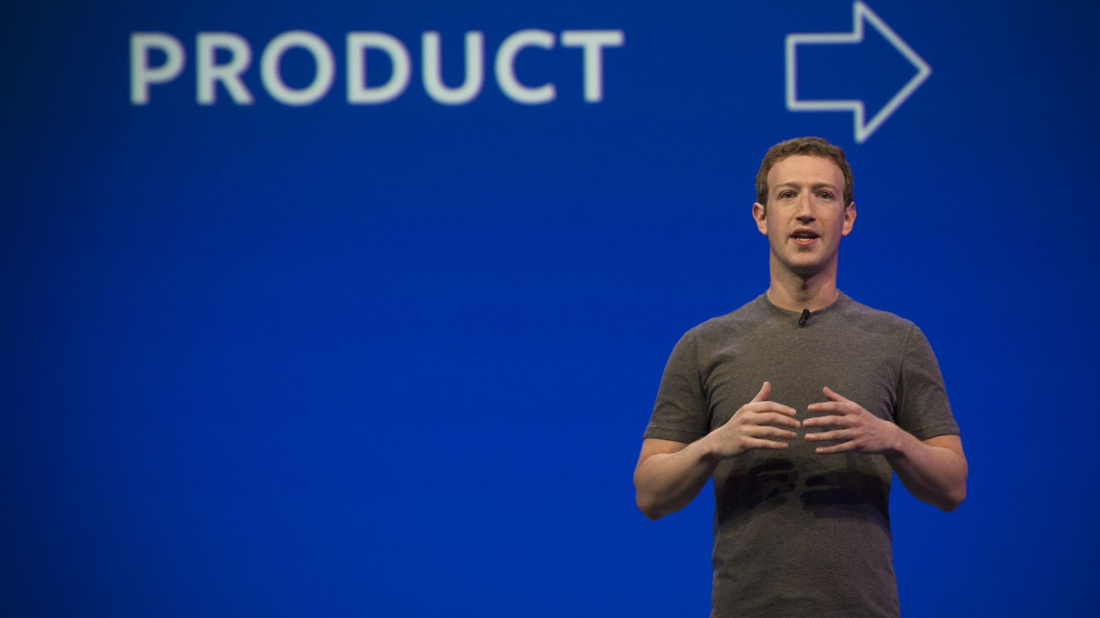 Mark Zuckerberg talking about Facebook Messenger marketing products on Facebook's recent F8 conference.