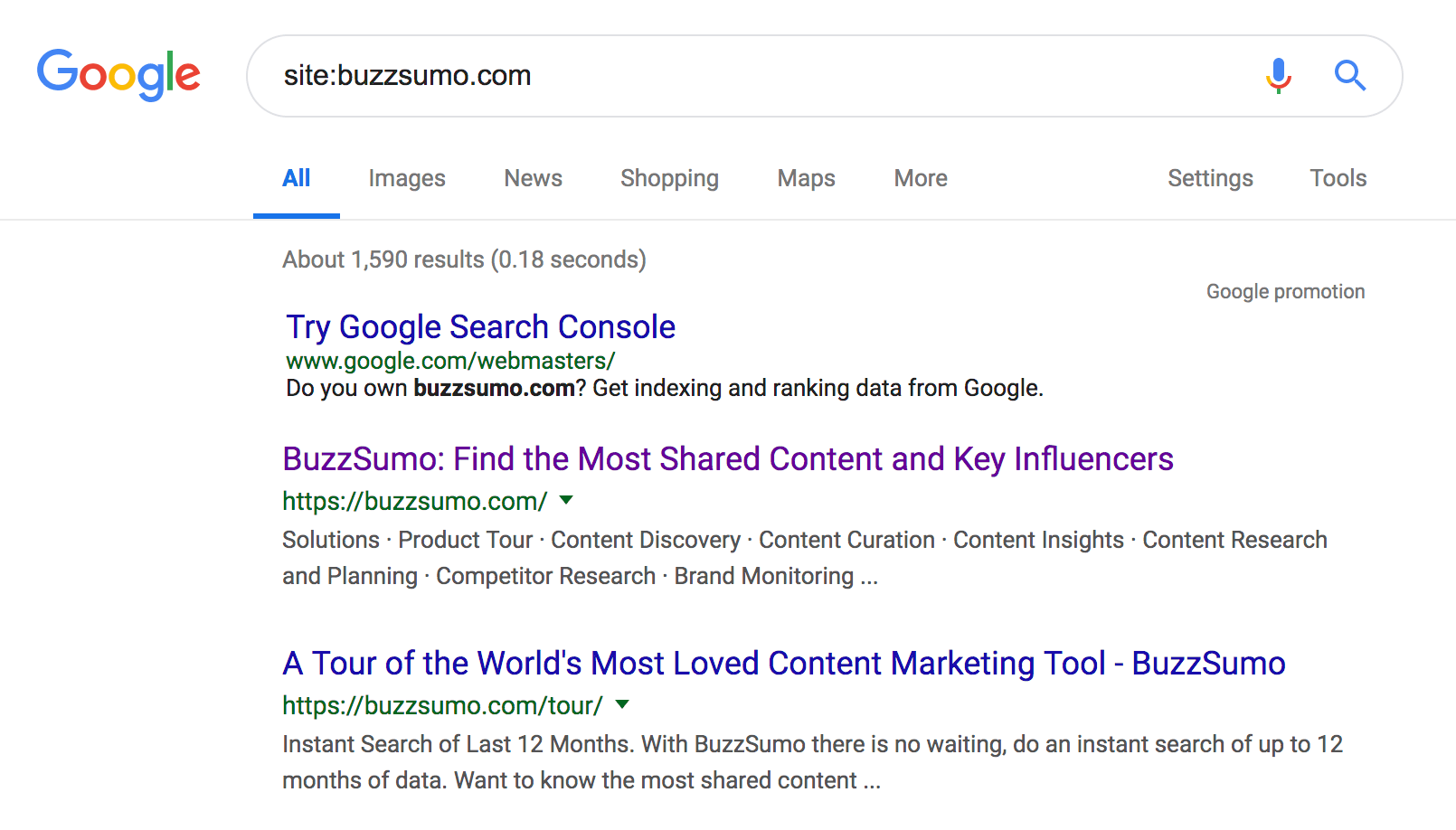 Example of google search for site content to audit screenshot