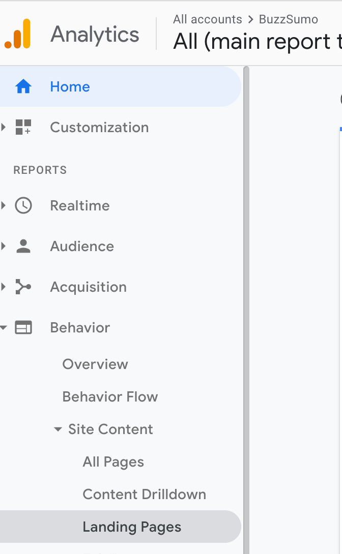 Google Analytics for Landing Page identification content audit screenshot
