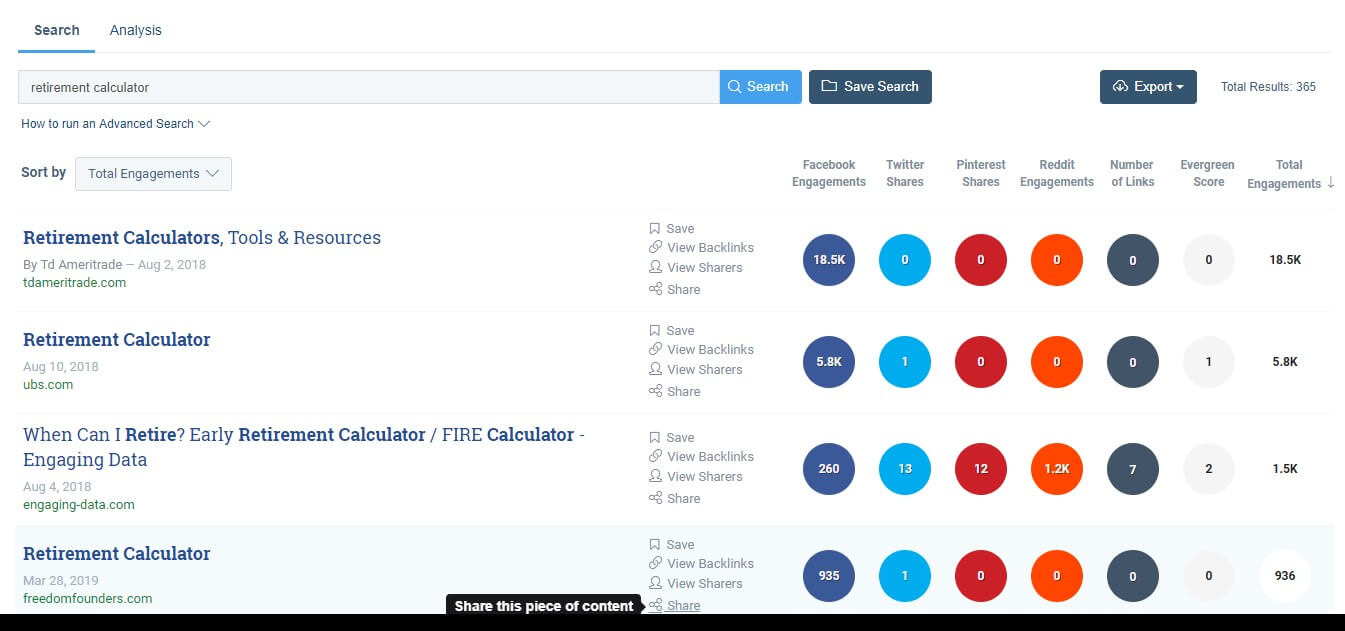 """Buzzsumo's Content Analyzer shows results for the keyword """"retirement calculator."""""""